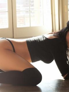 девушка, модель, позирует, в белье, плейбой