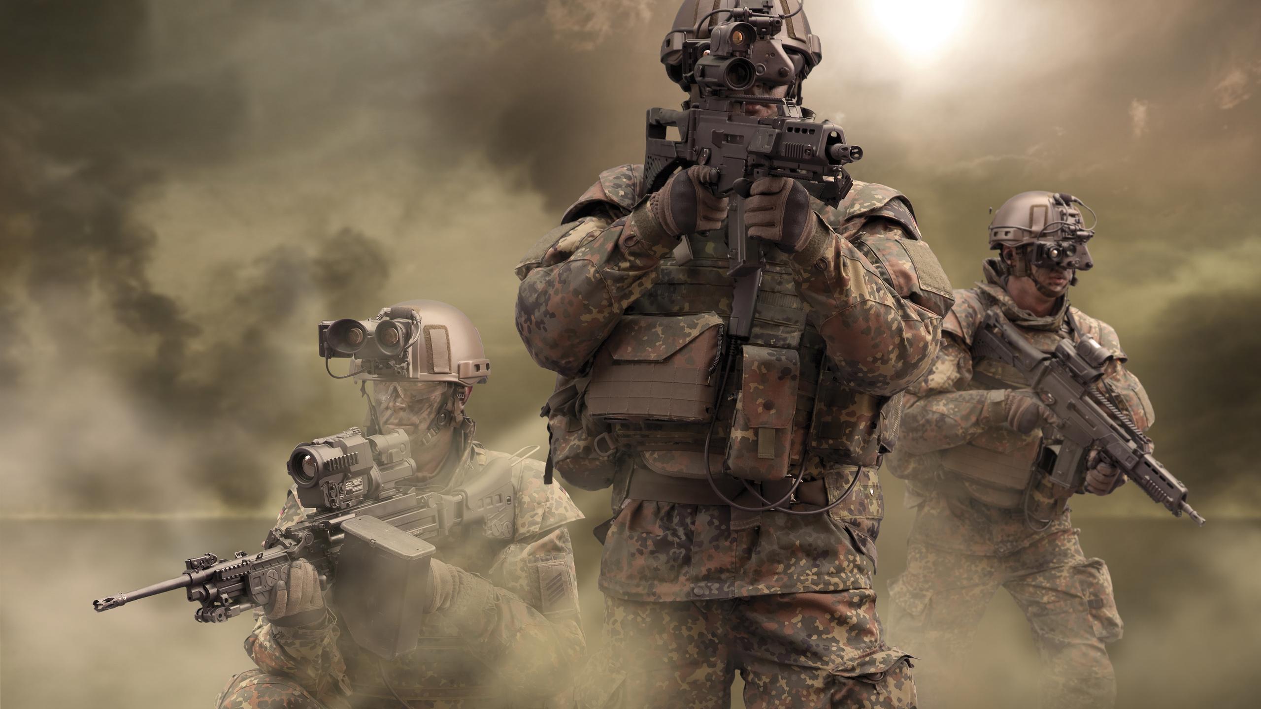 мужчины, бундесвер, германский, армия, солдат