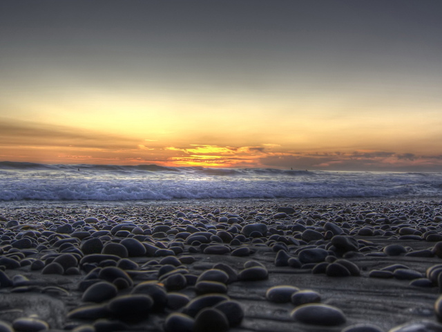 закат, камни, берег
