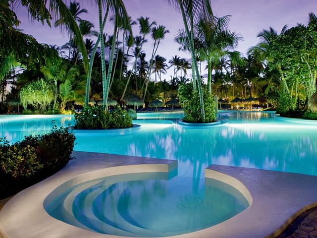 интерьер, бассейн, отель, тропики, пальмы