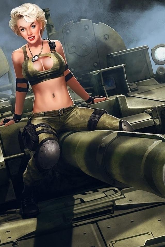 арт, девушка, танк, милитари