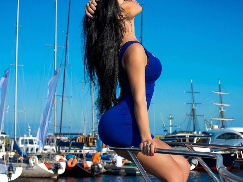 девушка, модель, позирует, на яхте
