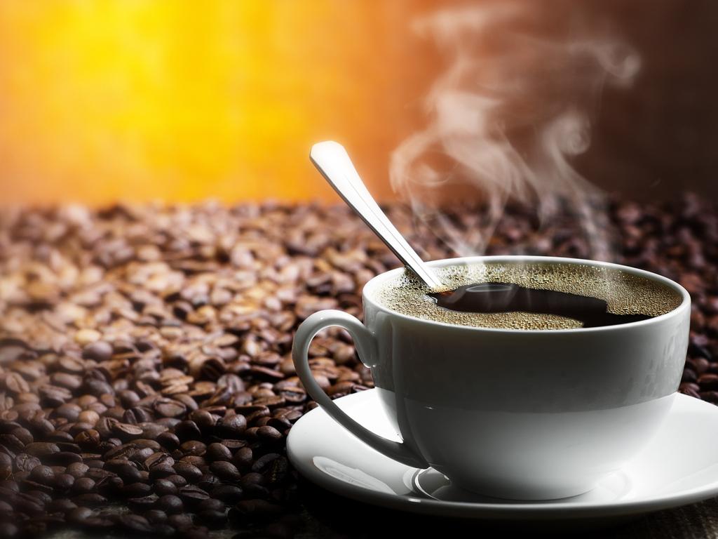 кофе, чашка, пар, зерна