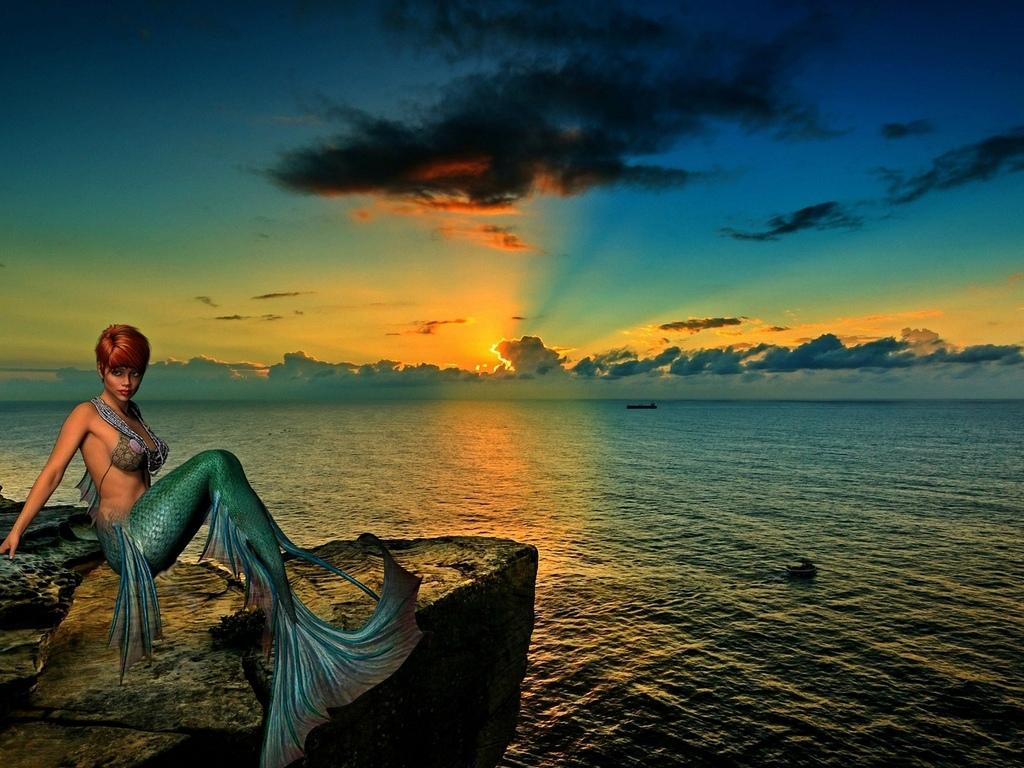 русалка, на фоне, заката