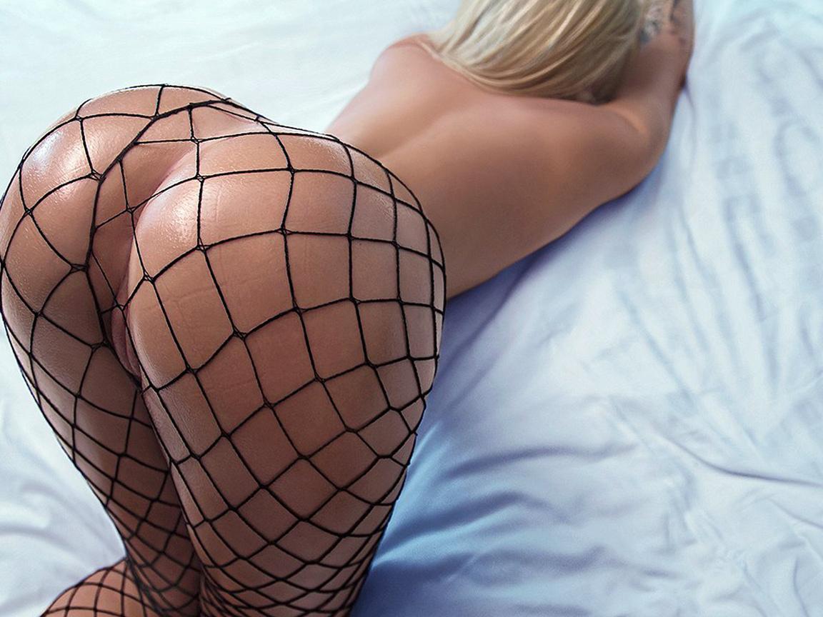 блондинка, постель, большая, попа, сексуальная, поза