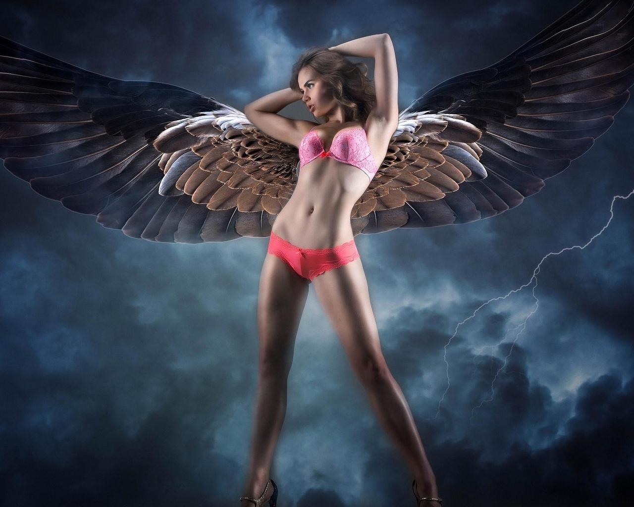 девушка, с крыльями, в белье, фэнтези