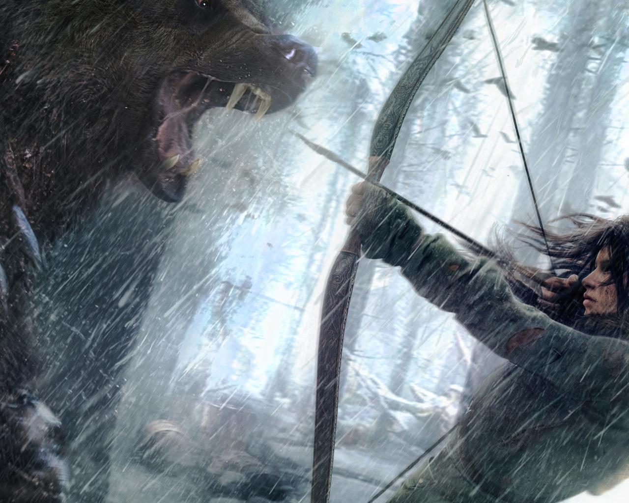 rise of the tomb raider, lara croft, tomb raider, расхитительница гробниц, медведь, лук, прицеливание, опасность, пасть, когти, игра
