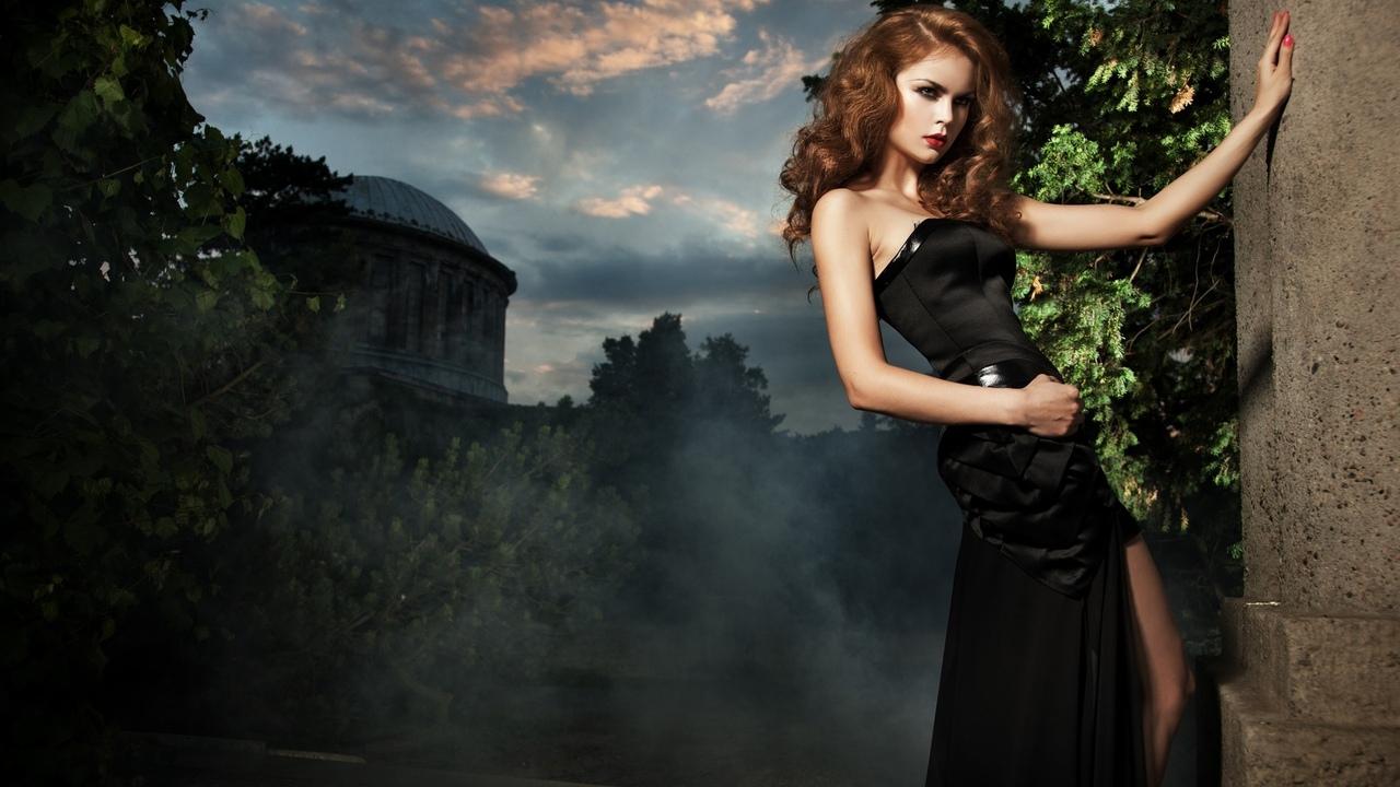 девушка, красивая, лицо, платье