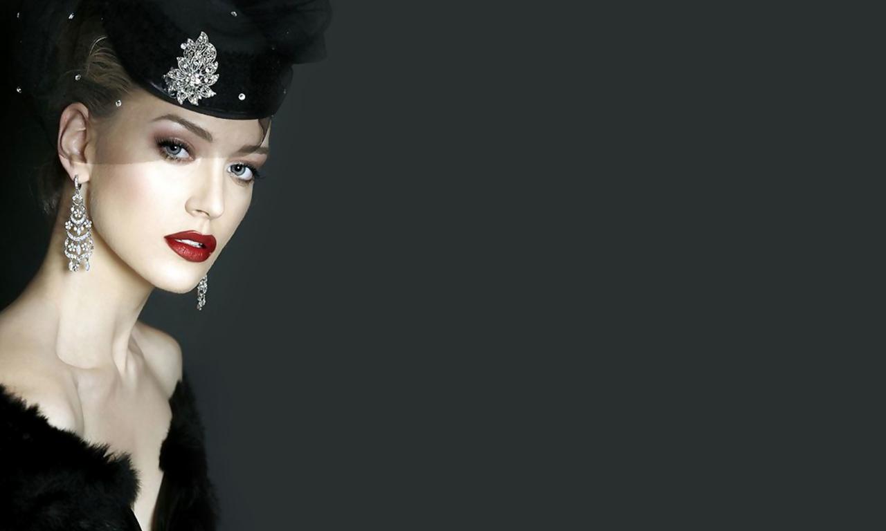 девушка, лицо, шляпка, макияж