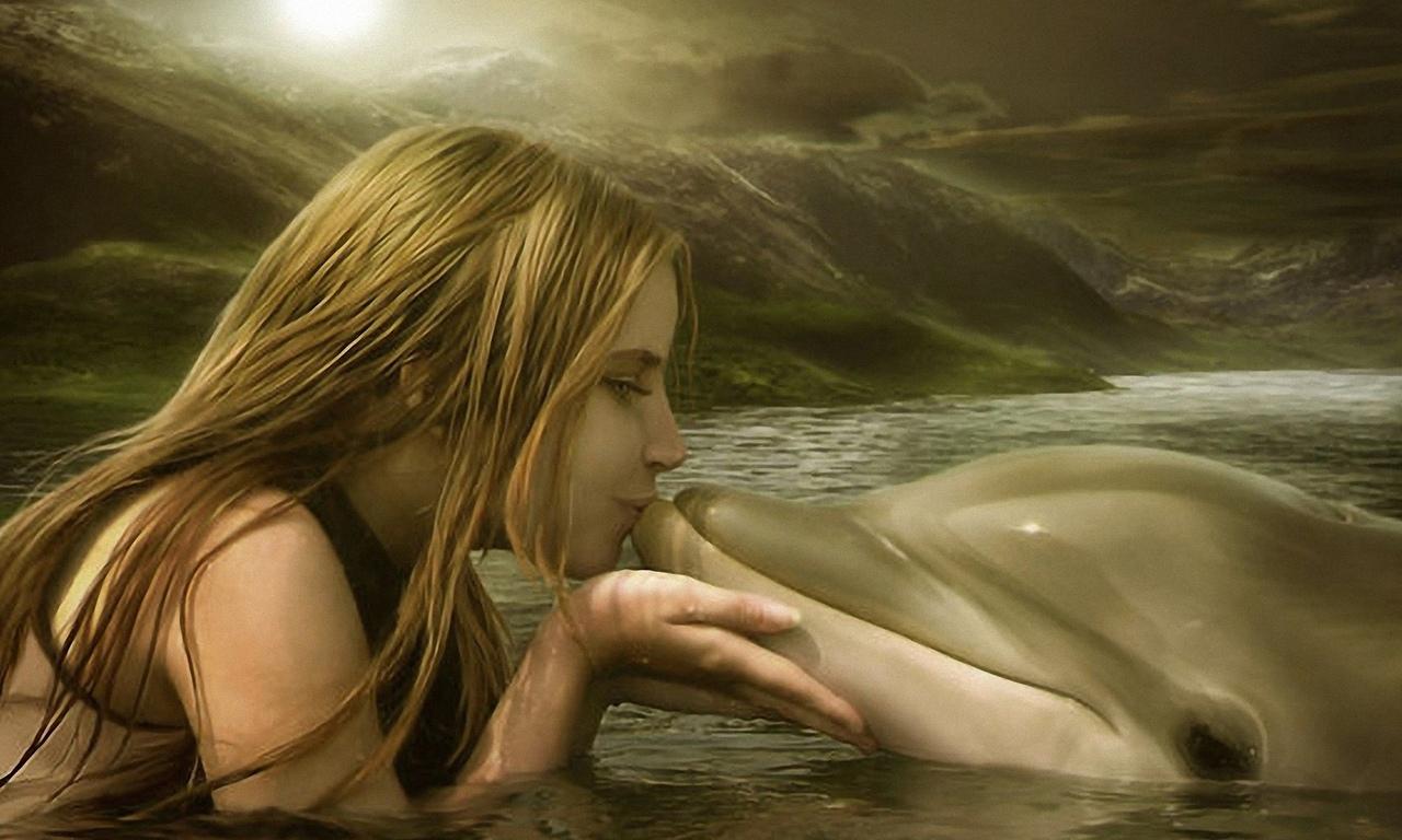 дельфин, девушка, природа, лагуна, поцелуй