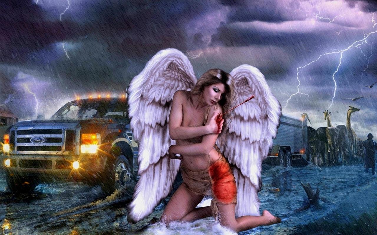 раненая, девушка, ангел