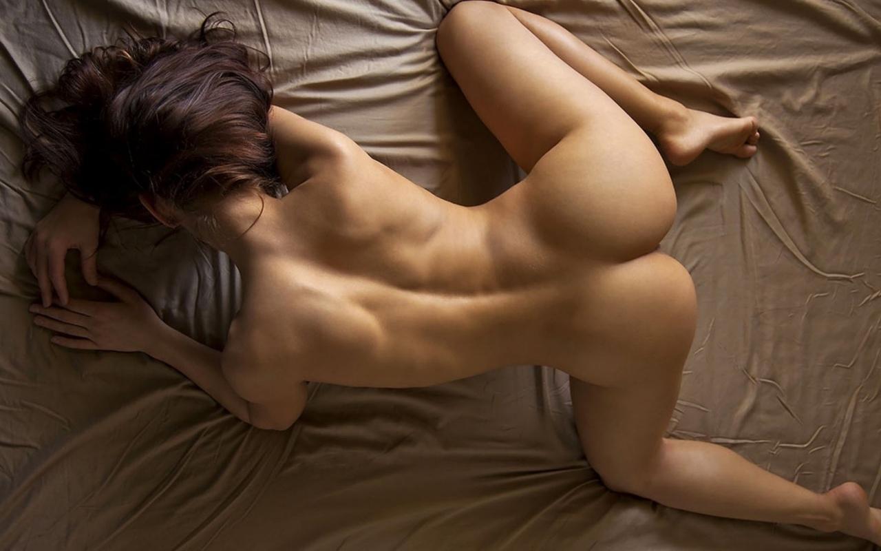 девушка, постель, поза