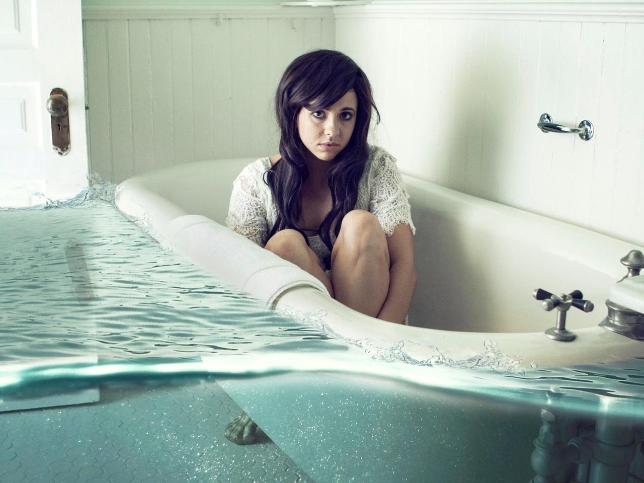 девушка, ванна, креатив, вода, поза