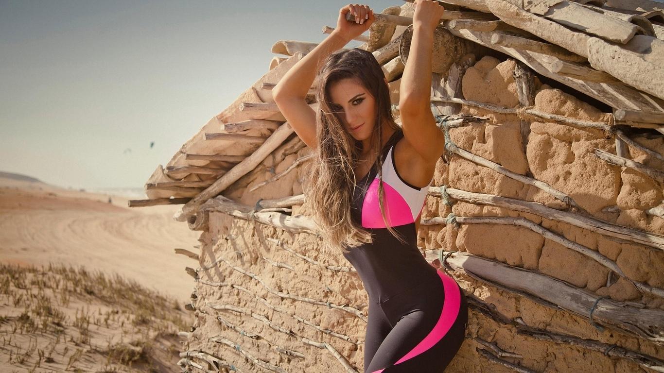 девушка, модель, позирует, спорт