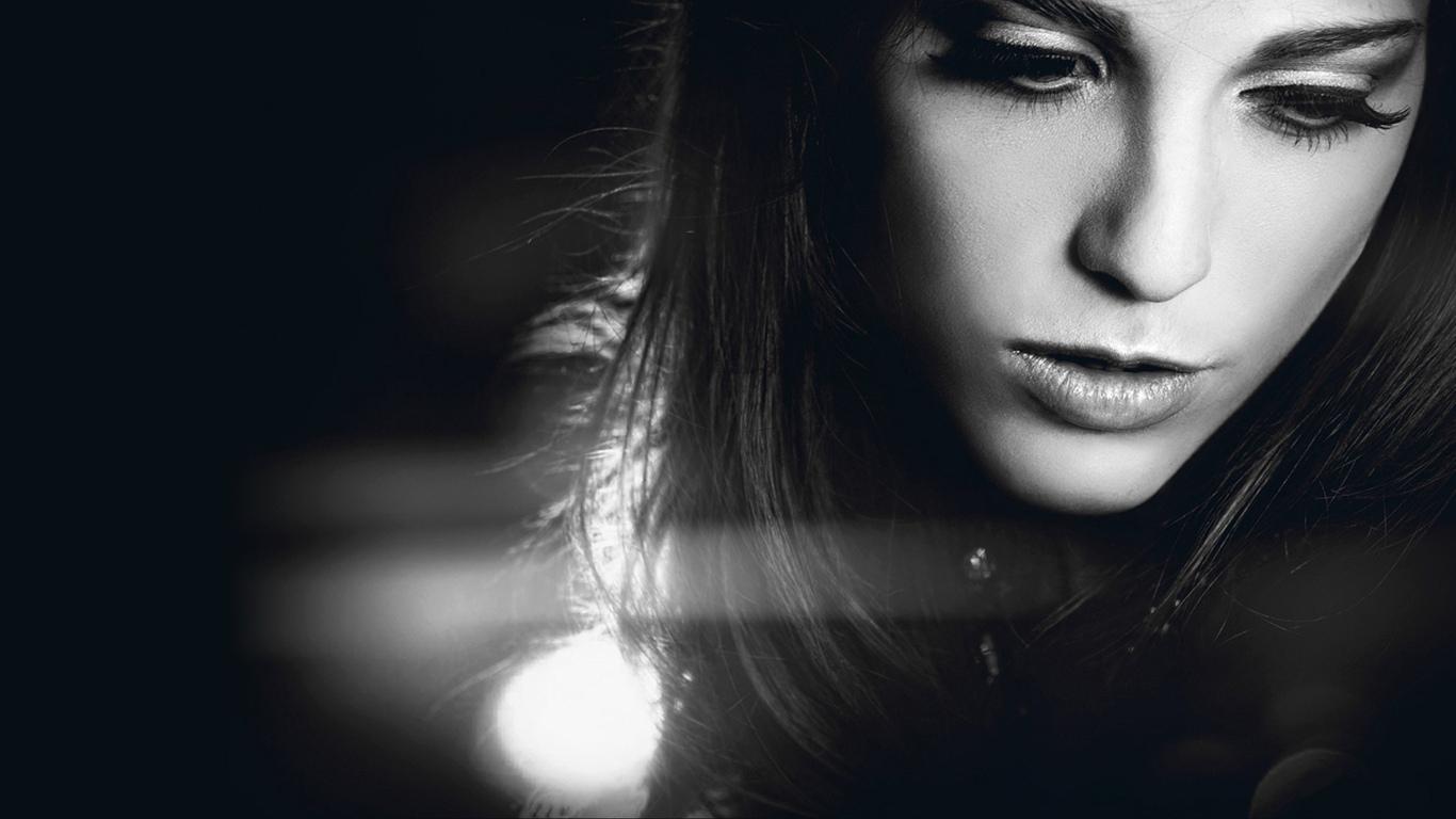 девушка, лицо, свет, чернобелая, замена, красивая