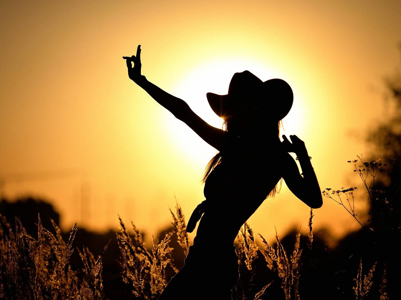 силуэт, девушки, на фоне, солнца