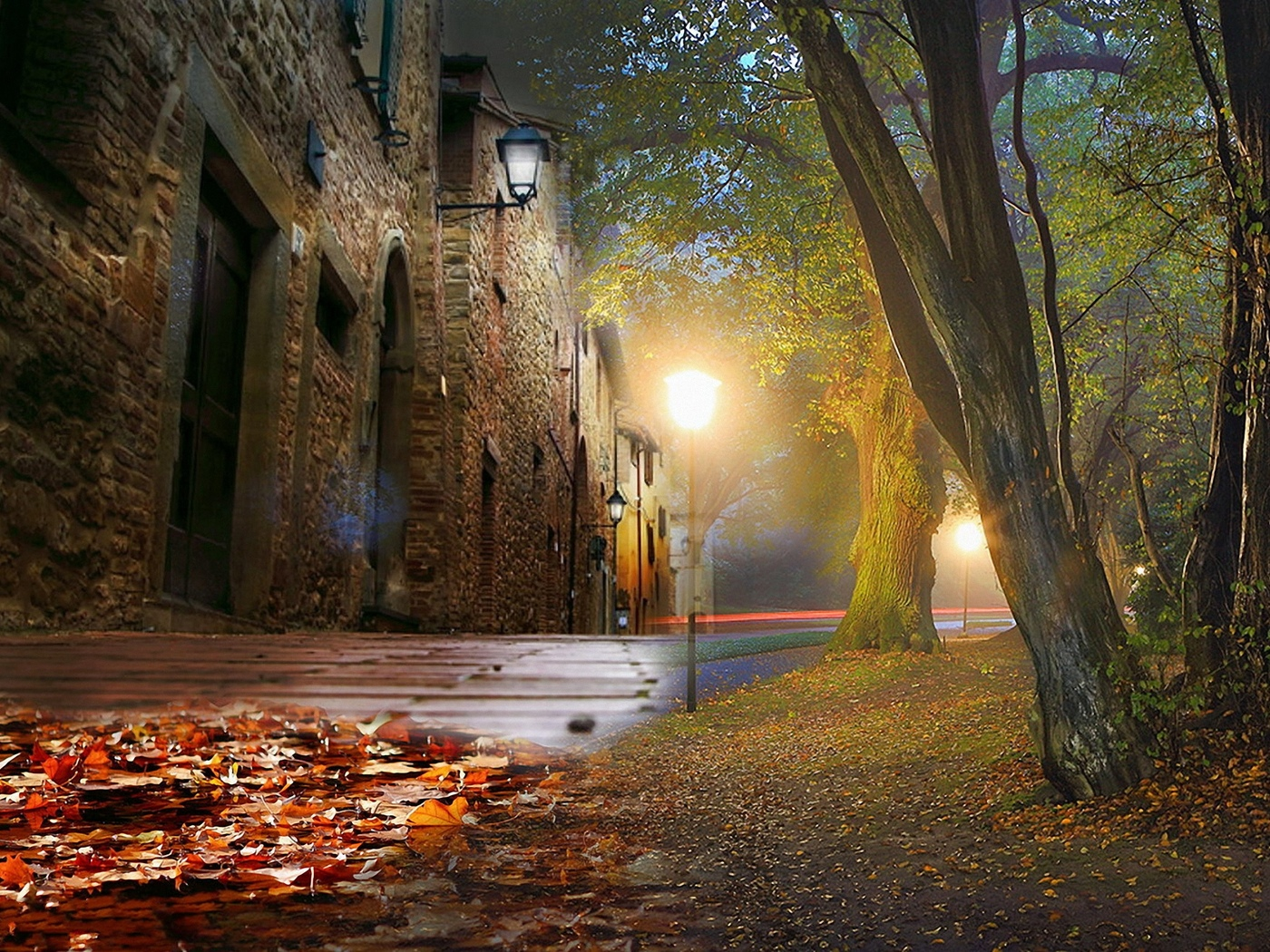 улица, туман, осень, дом, фонари