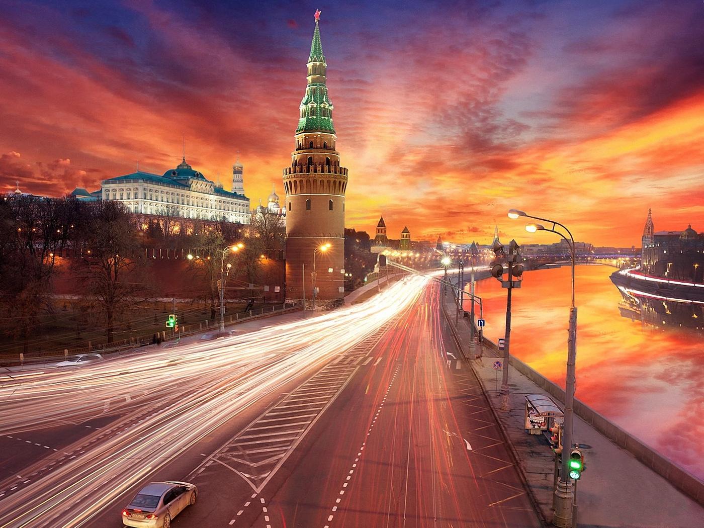 город, москва, вечер, дорога, огни