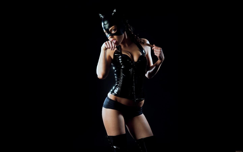 девушка, кошка, костюм, фигура, маска