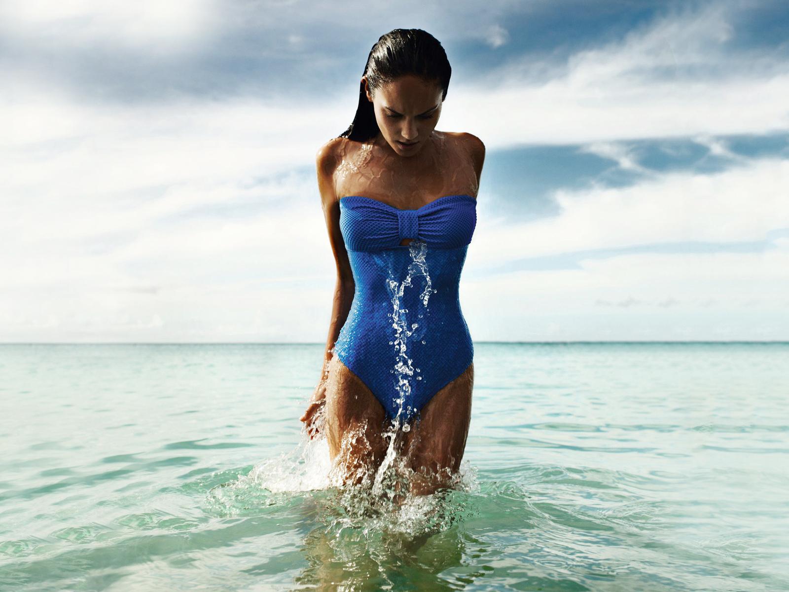 девушка, мокрая, море, брызги