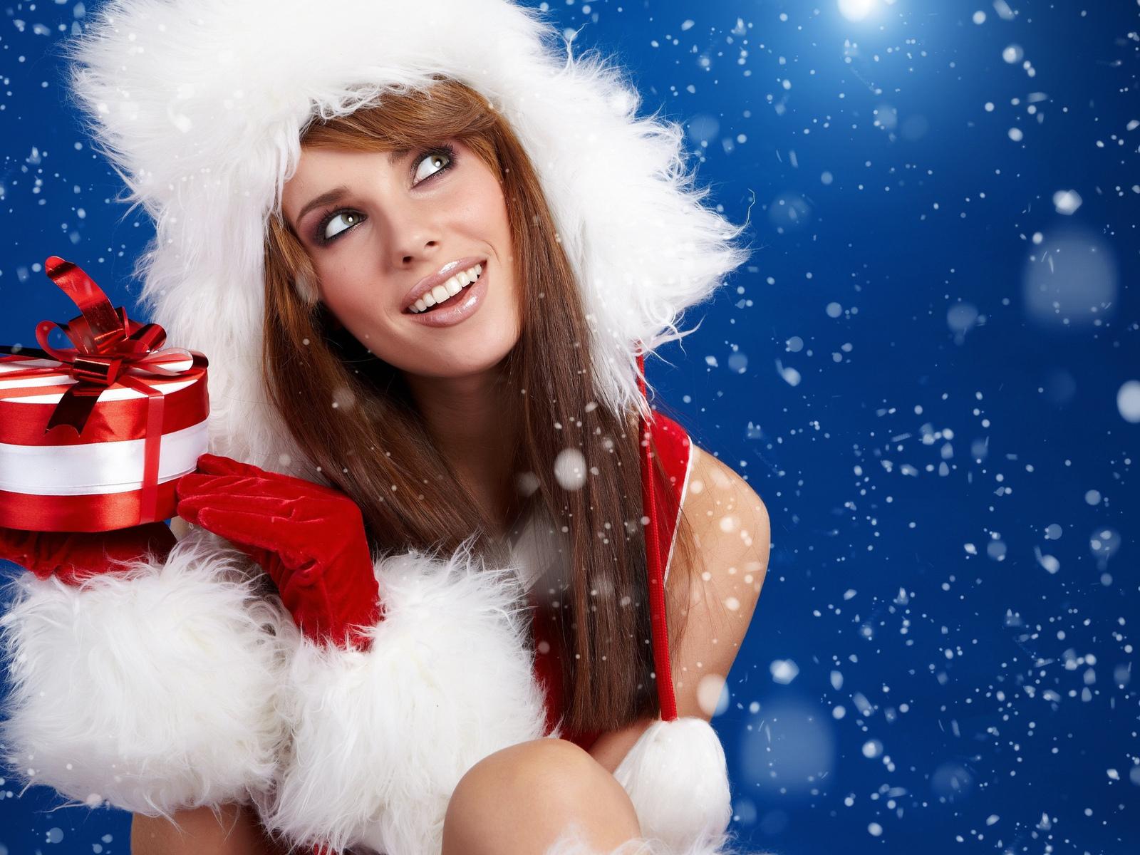 девушка, новый год, подарок, улыбка