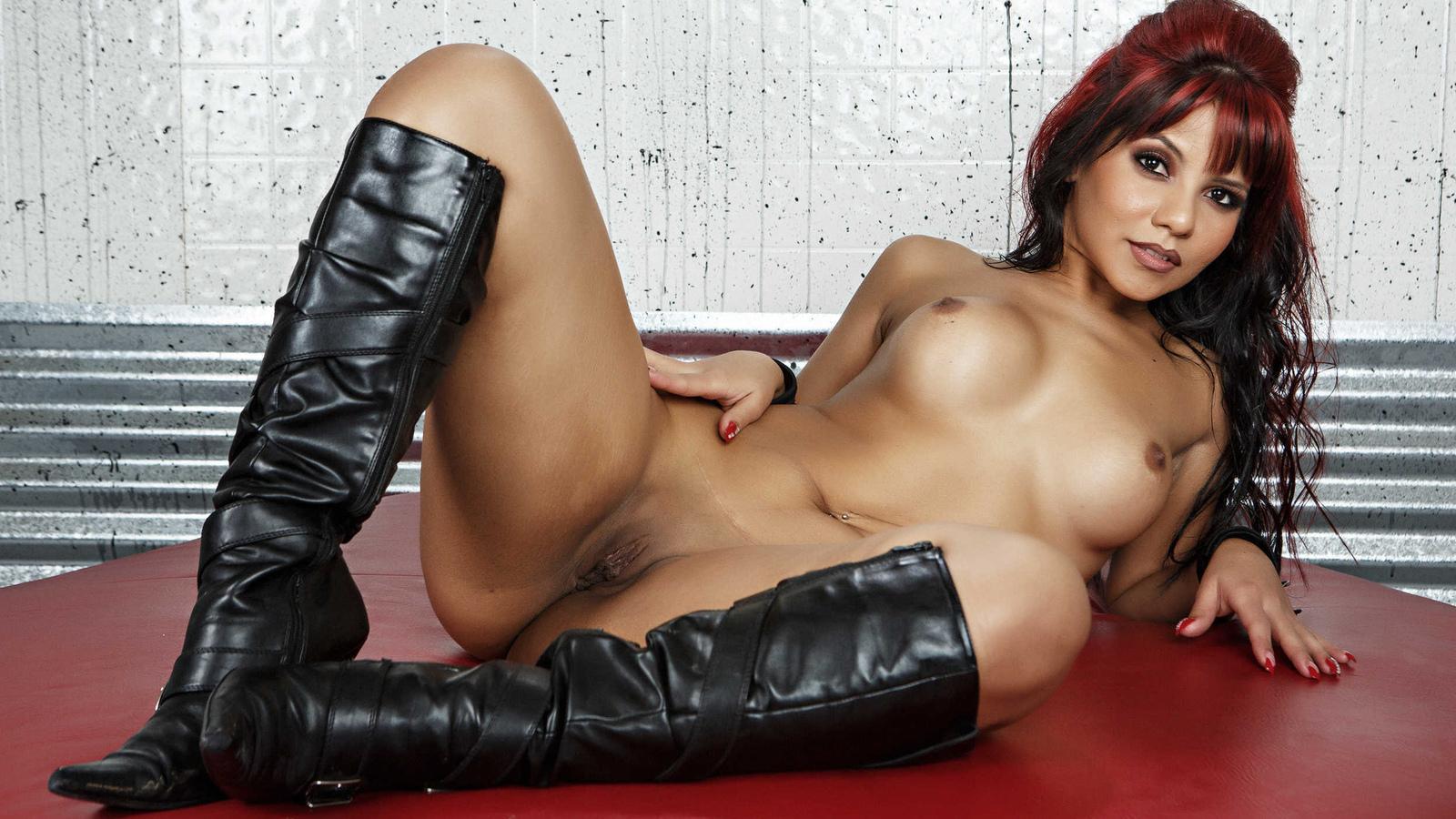 девушка, красивая, киска, грудь, ножки, голая, сиськи, лобок, поза, сапожки