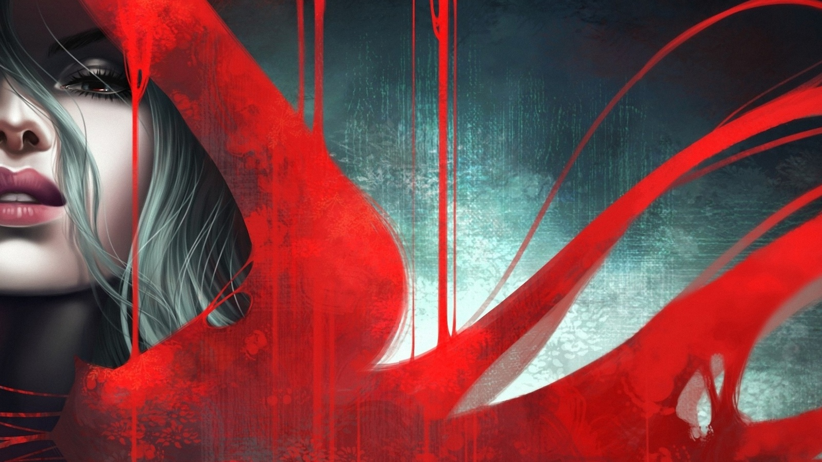 девушка, в красном, плаще, by kelogsloops