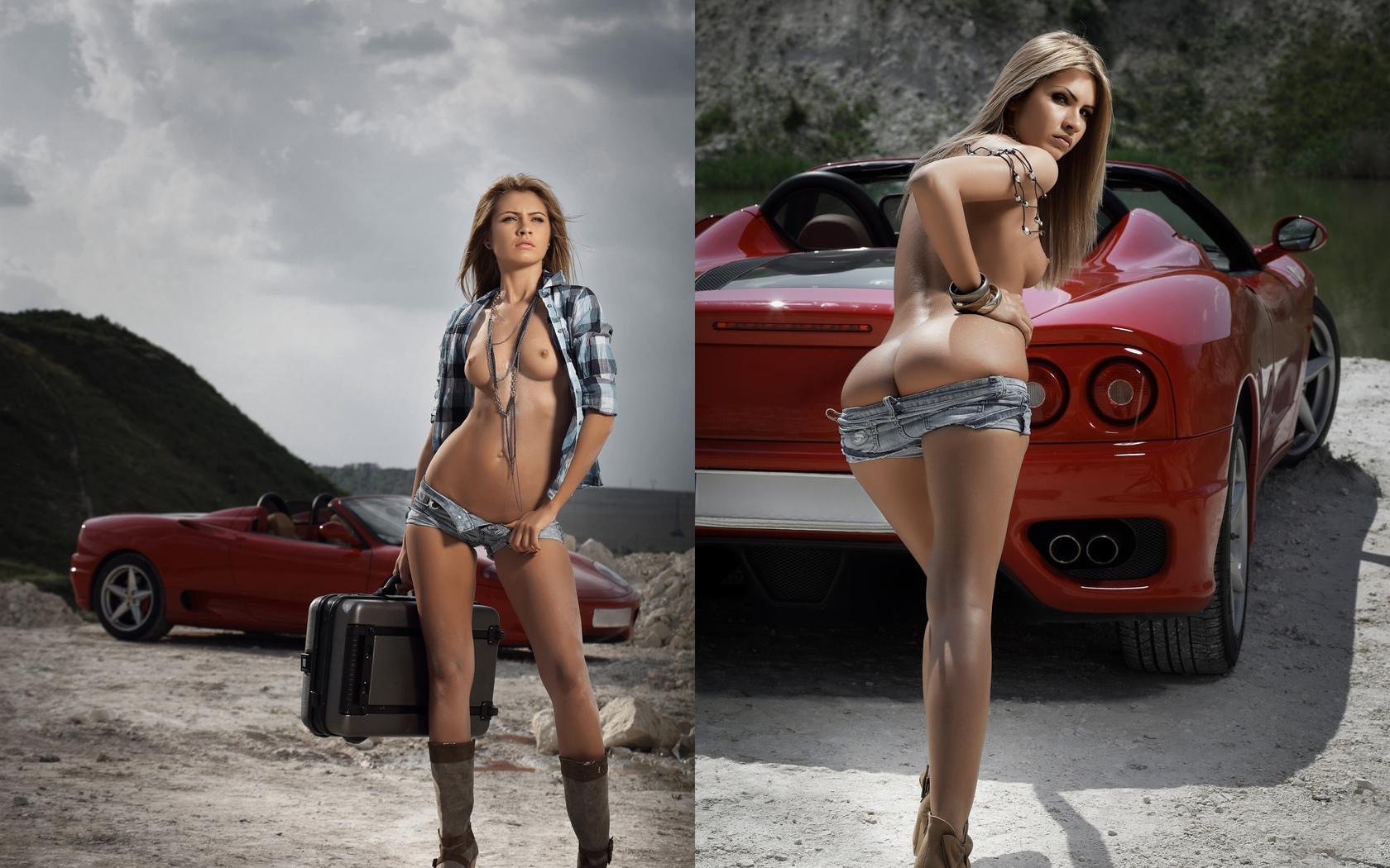 девушка, модель, позирует, у авто