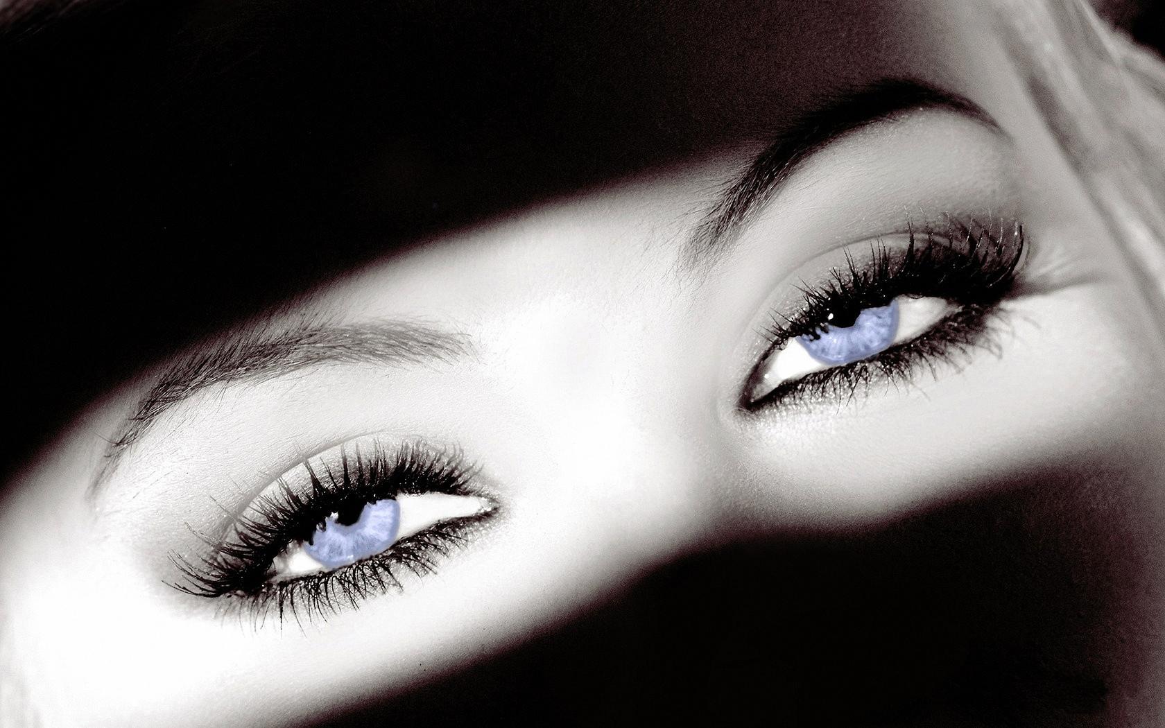 лицо, девушка, взгляд, глаза, макро, чб фото