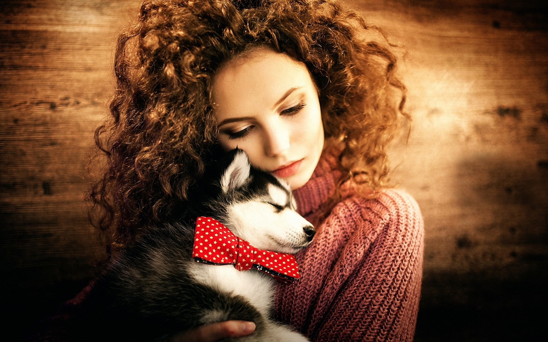 девушка, с щенком