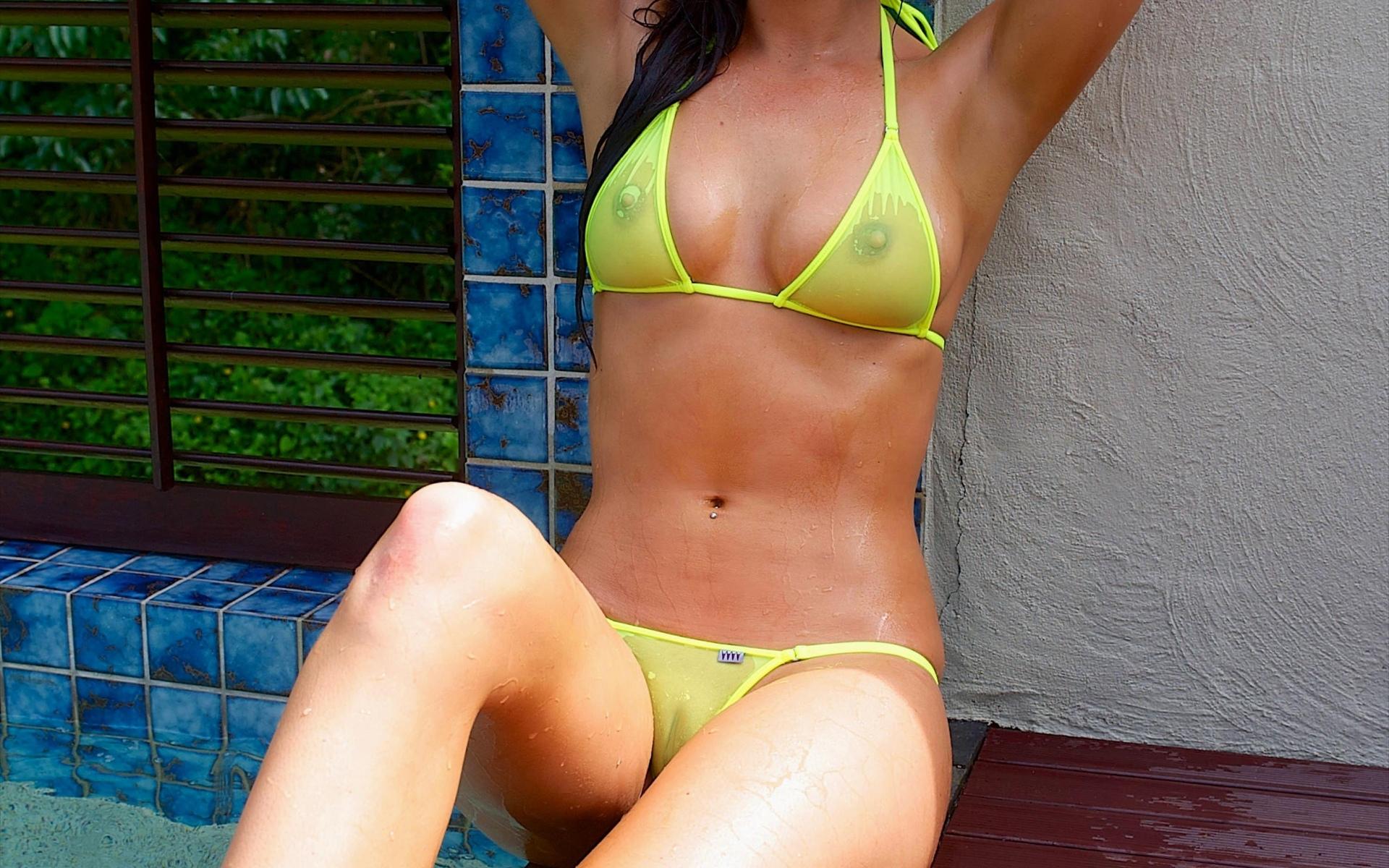 девушка, купальник, мокрый, живот