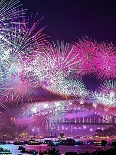 город, ночь, салют, фейерверк, красиво, праздник