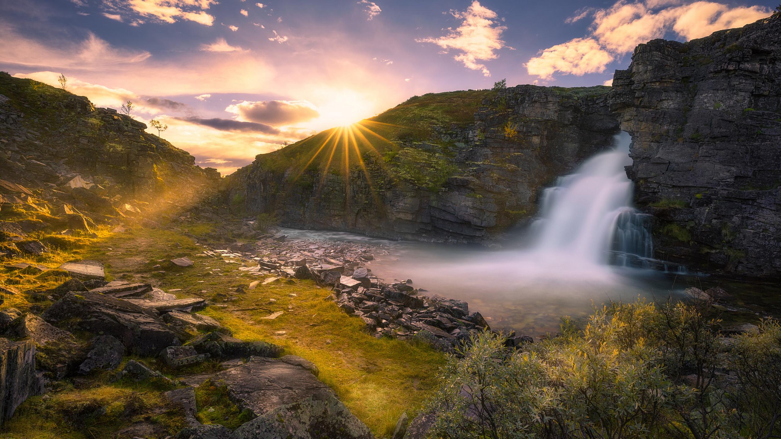 небо, горы, водопад, звезды