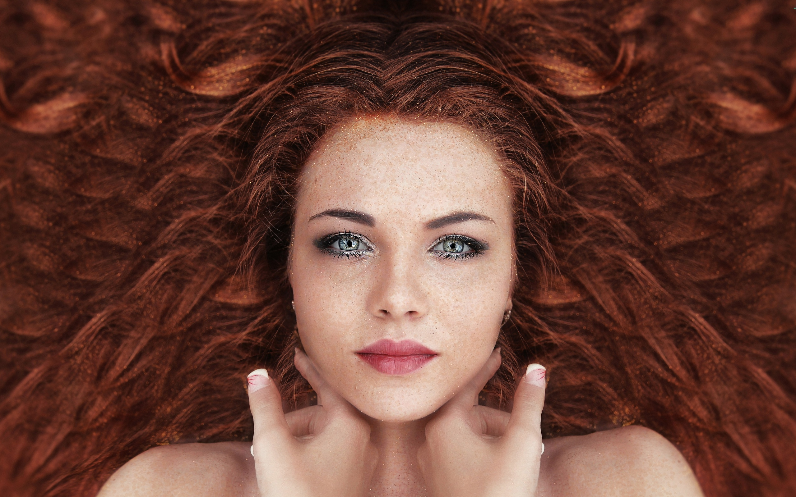 девушка, взгляд, портрет, волосы, рыжая, проф фото