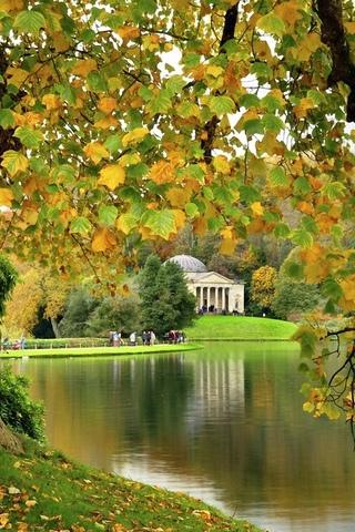 природа, парк, осень, озеро, англия