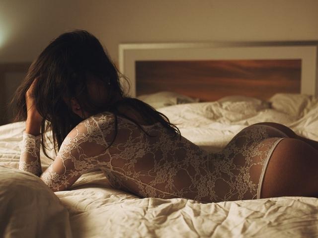 лежит, спина, попа, белье, постель