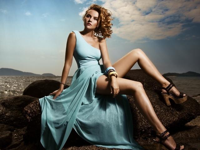 девушка, поза, красивая, фигура, платье