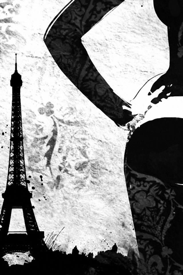 девушка, с пистолетом, вид, париж, рисунок, арт