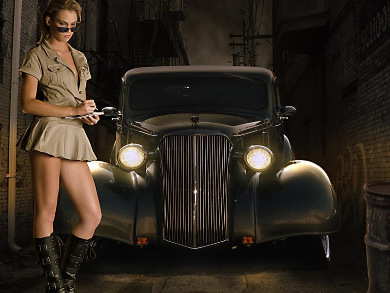 девушка, авто, ретро, стиль