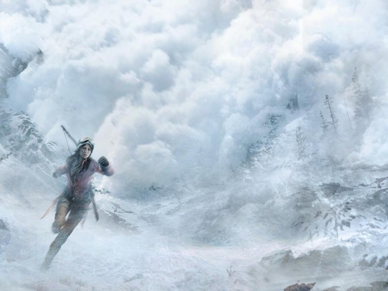 rise of the tomb raider, lara croft, tomb raider, расхитительница гробниц, опасность, снежная лавина, лавина, зима, бег, игра