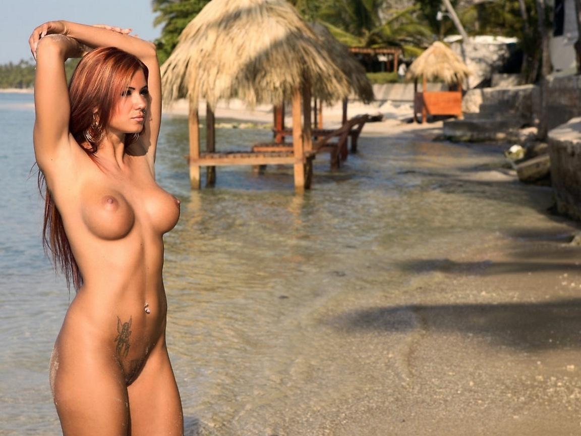 голые, обнаженные, сиськи, грудь, грудь, соски, киска, длинные волосы, рыжий, тропический, пляж