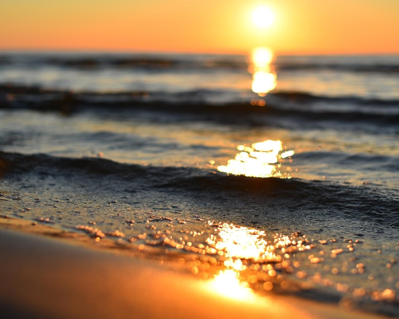 рассвет, море, волны блеск