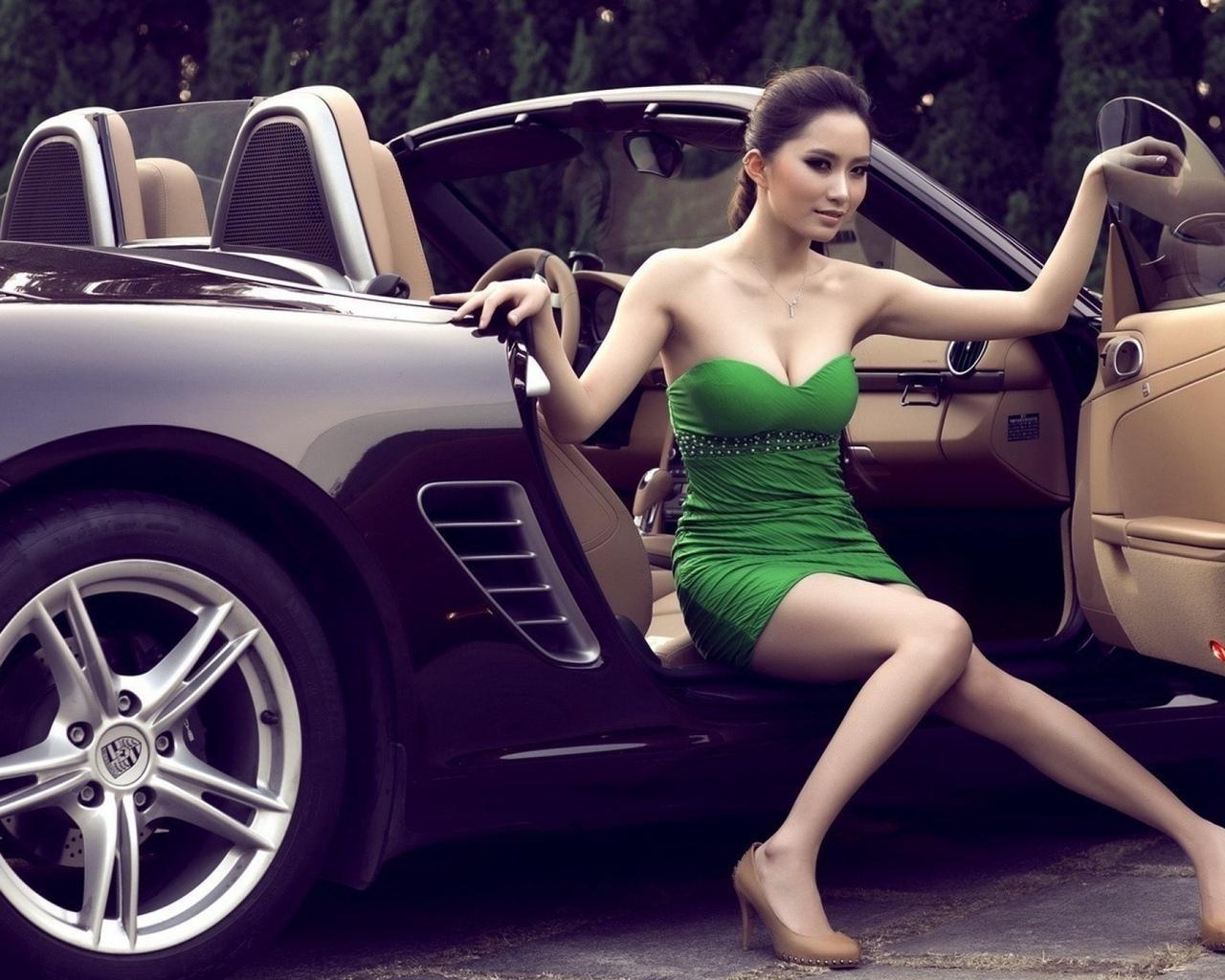 девушка, модель, позирует, на фоне, авто