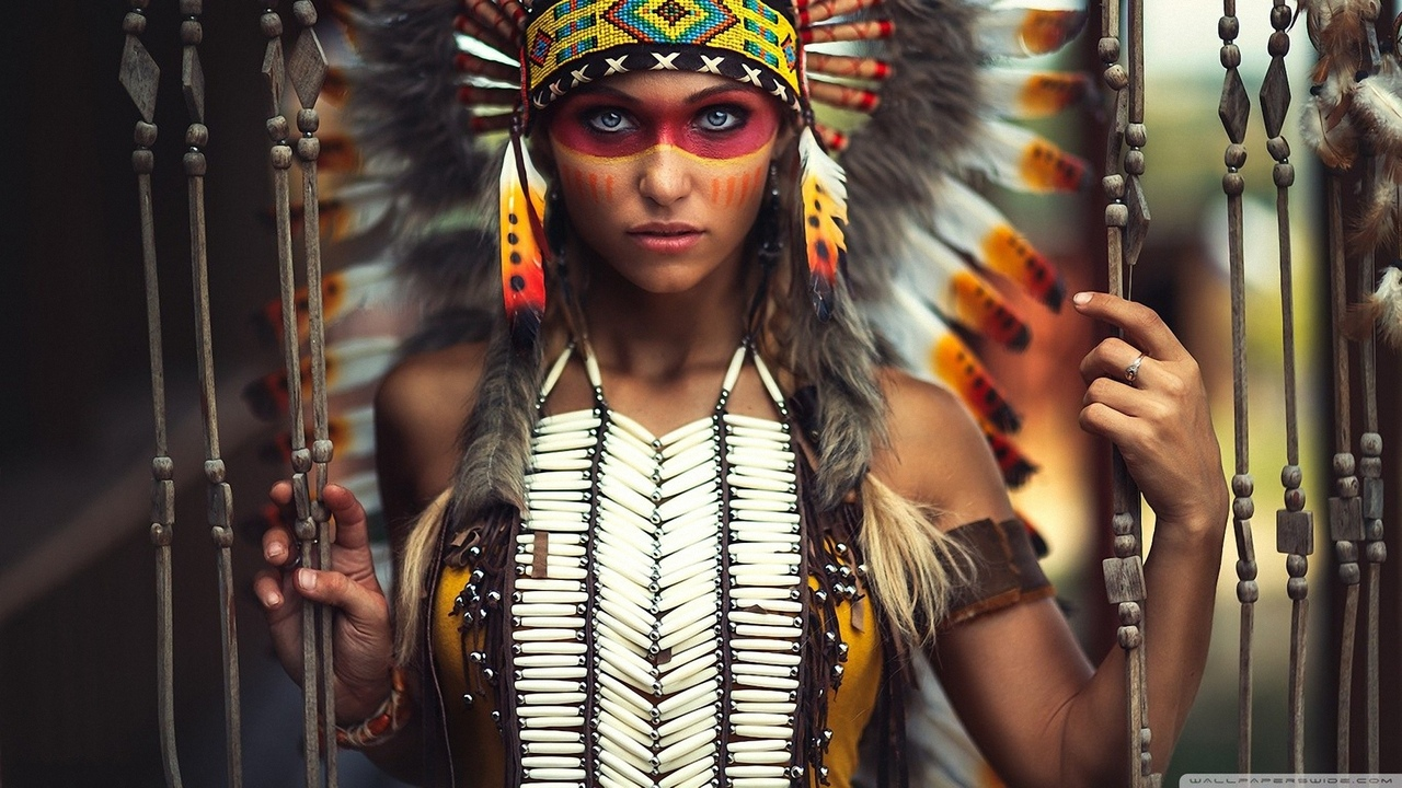 девушка, в индейском, наряде, проф фото