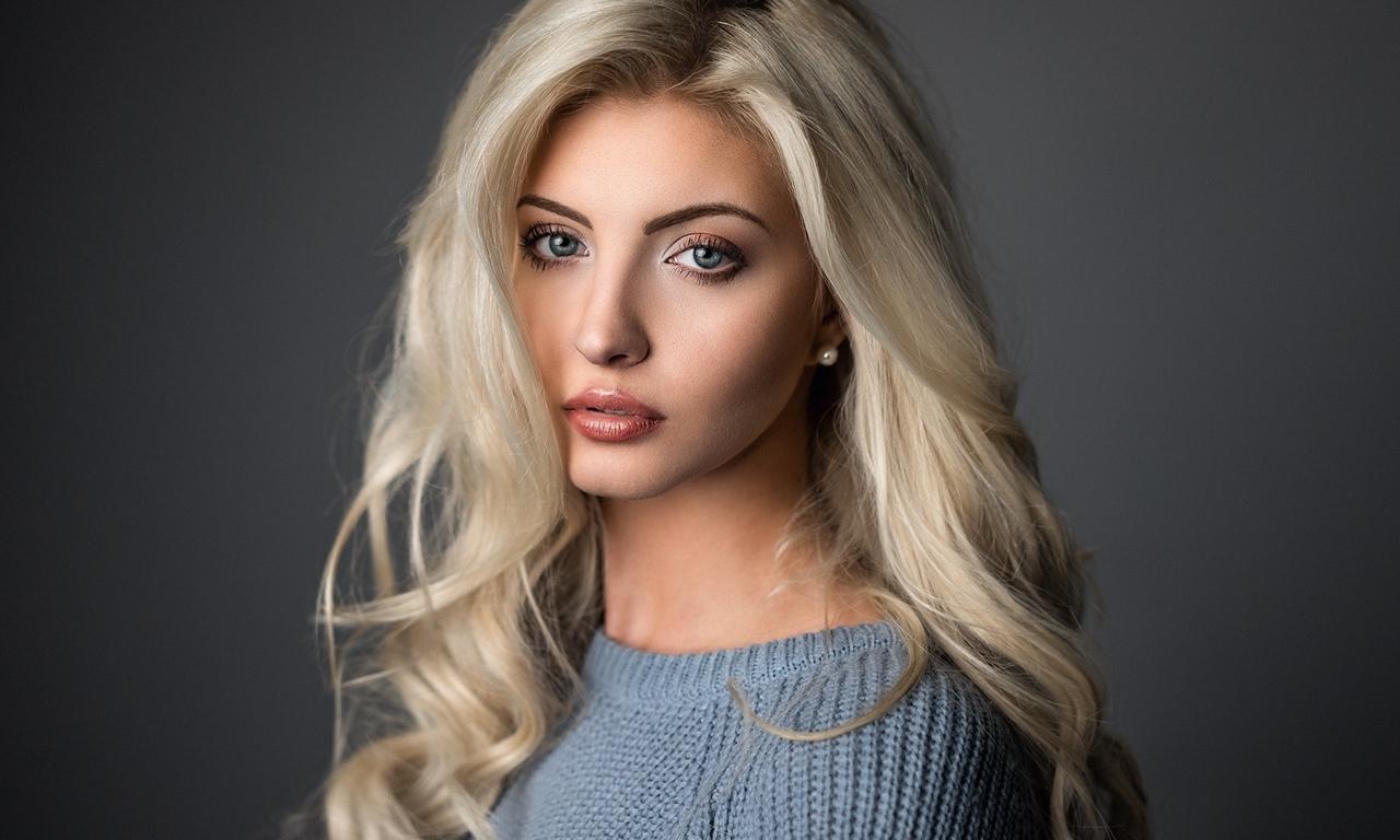 aнн cофи, модели, портрет, женщины, блондинка, свитер, длинные волосы