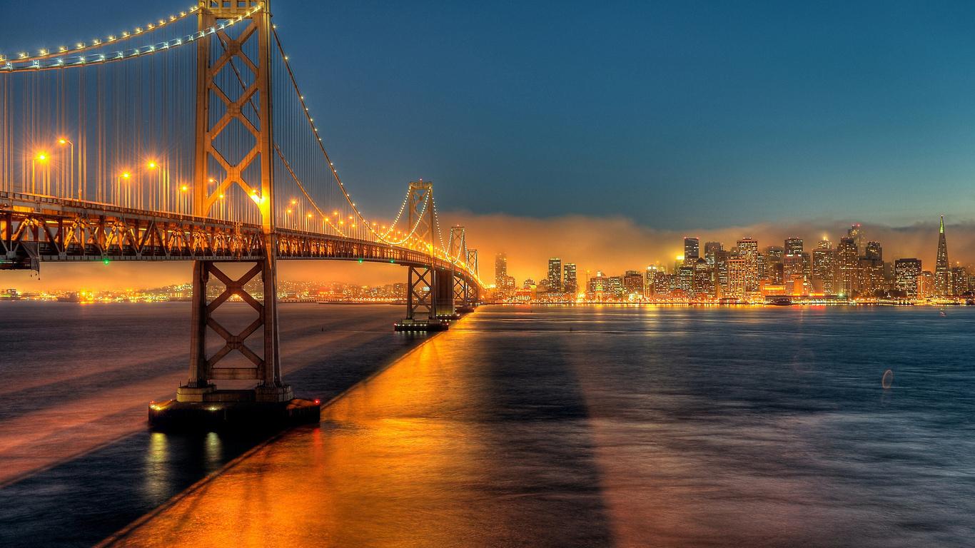 ночной город, мост