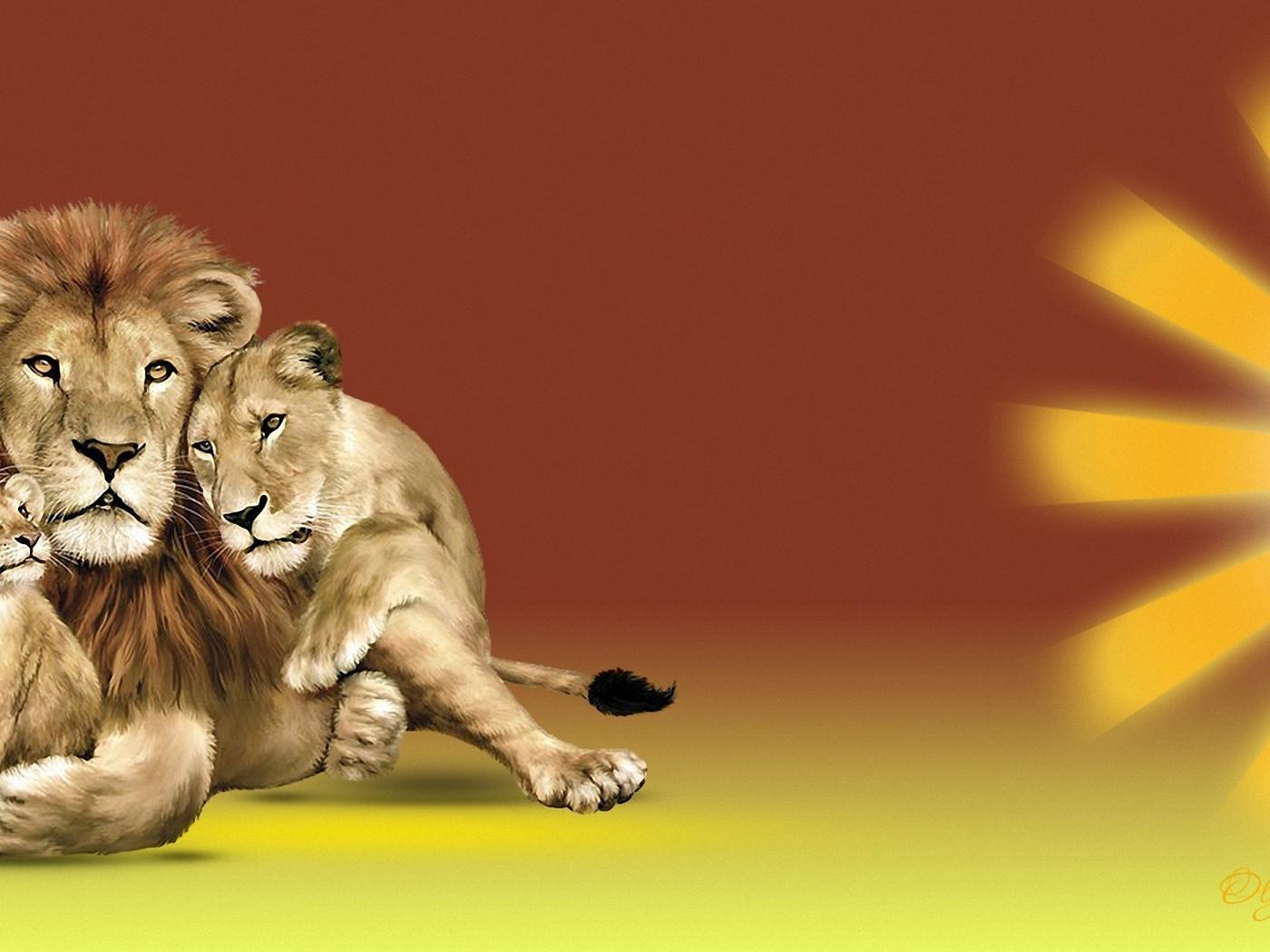 лев, львица, львенок, солнце