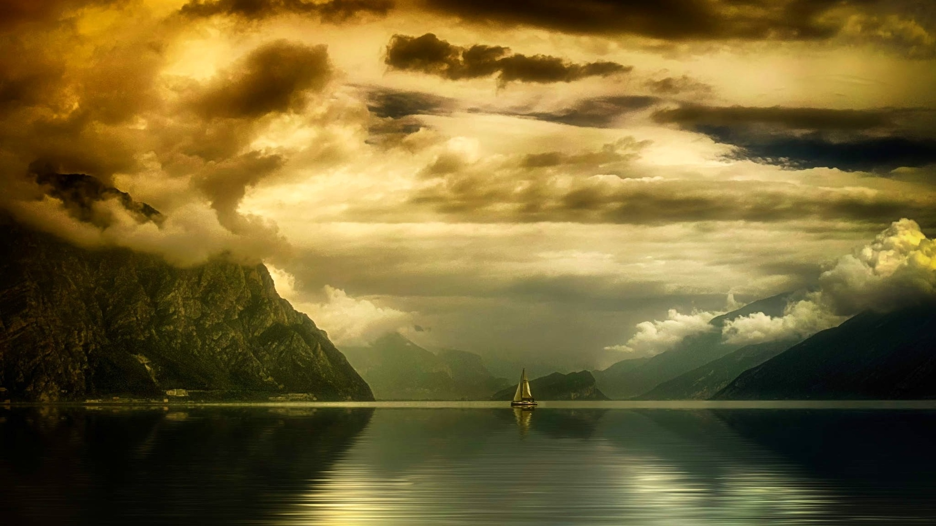 фотография, пейзаж, природа, озеро, горы, облака, закат солнца, парусники, небо, отражение, спокойный