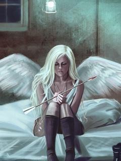 девушка, ангел, рисунок