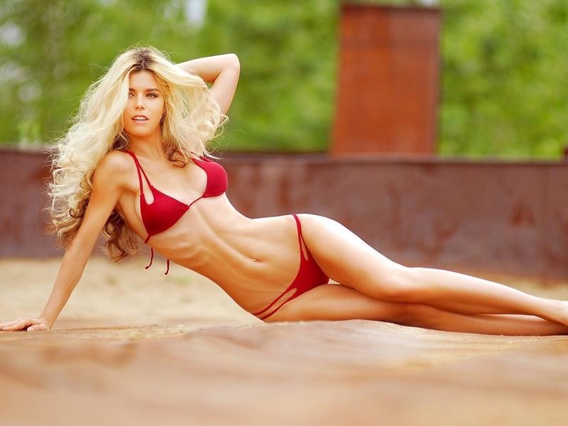 женщины, блондинка, бедра, разрыв, глубина резкости, живот, брюнетка, красные бикини, глядя, тощий, бикини, купальный костюм